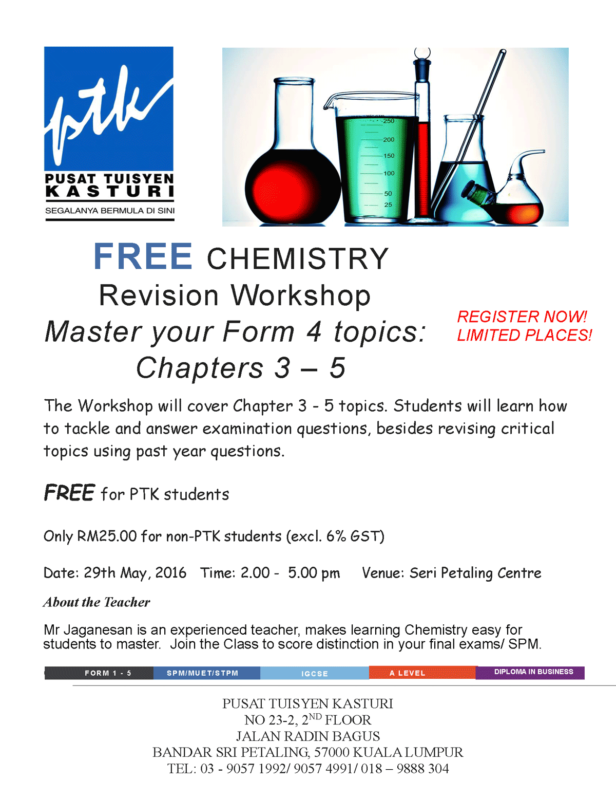 Free Chemistry Revision Workshop from Pusat Tuisyen Kasturi PTK